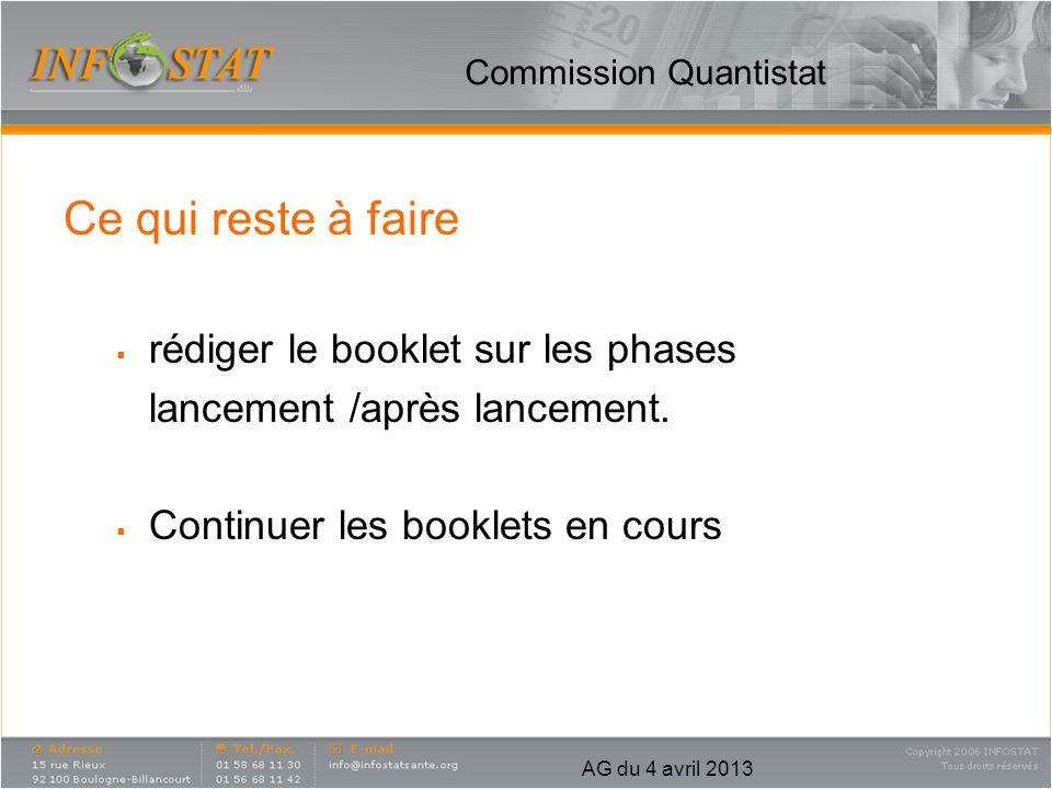 AG du 4 avril 2013 Commission Quantistat Objectifs futurs : Echanger avec nos prestataires sur les évolutions de nos outils/métiers.