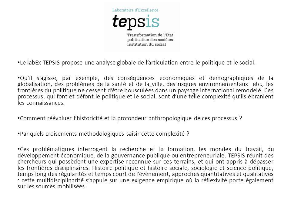Le labEx TEPSIS propose une analyse globale de larticulation entre le politique et le social.
