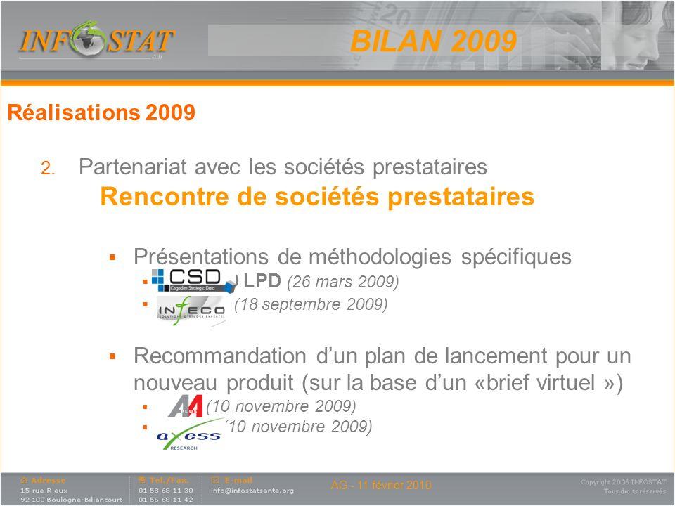 AG - 11 février 2010 Réalisations 2009 2. Partenariat avec les sociétés prestataires Rencontre de sociétés prestataires Présentations de méthodologies