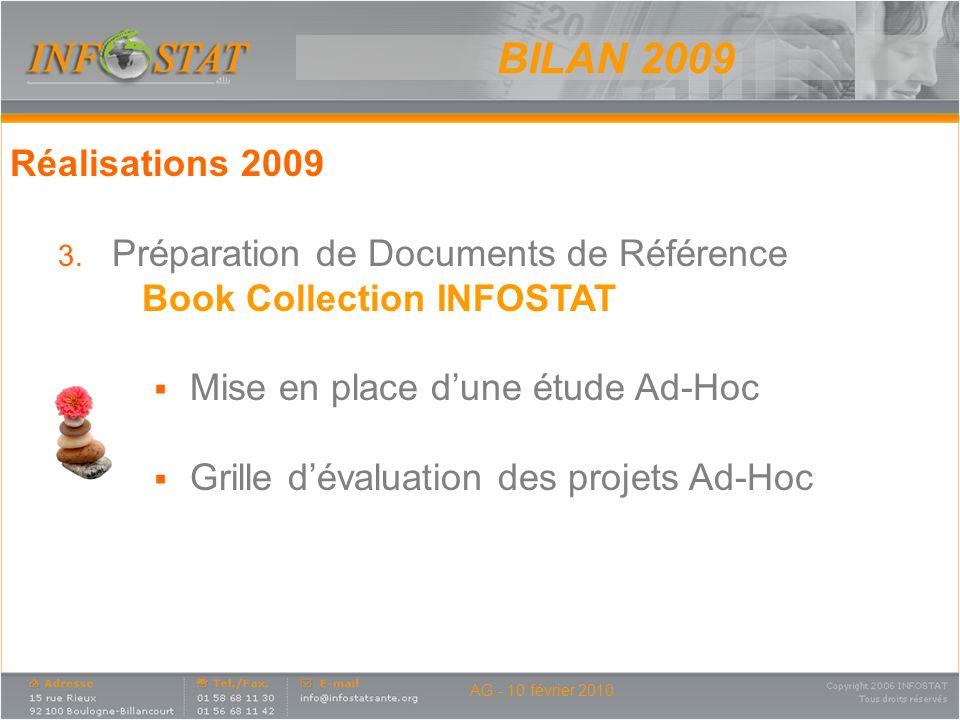AG - 10 février 2010 Réalisations 2009 3. Préparation de Documents de Référence Book Collection INFOSTAT Mise en place dune étude Ad-Hoc Grille dévalu