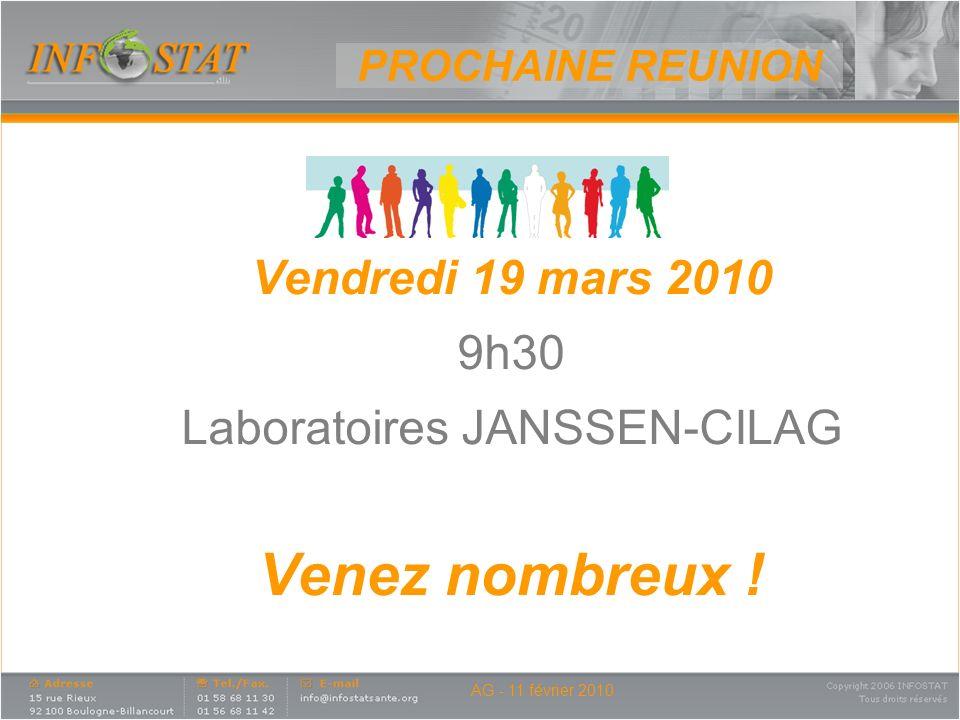 AG - 11 février 2010 Vendredi 19 mars 2010 9h30 Laboratoires JANSSEN-CILAG Venez nombreux ! PROCHAINE REUNION