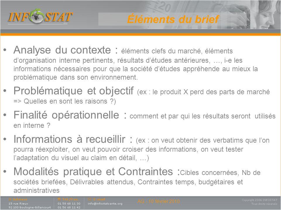 Analyse du contexte : éléments clefs du marché, éléments dorganisation interne pertinents, résultats détudes antérieures, …, i-e les informations néce