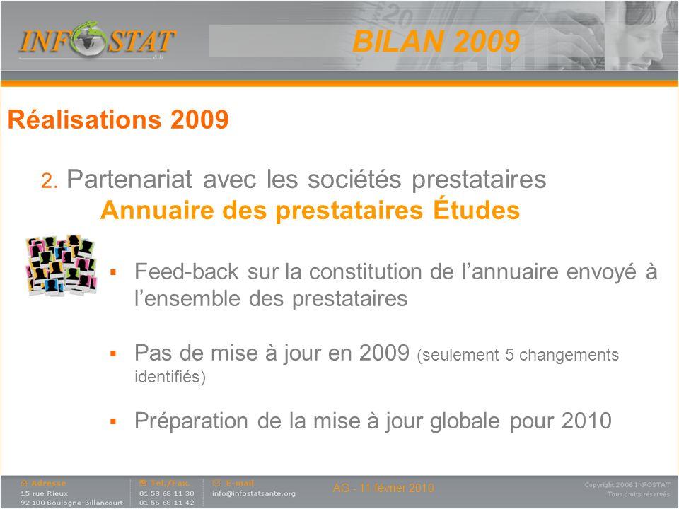 AG - 11 février 2010 Réalisations 2009 2. Partenariat avec les sociétés prestataires Annuaire des prestataires Études Feed-back sur la constitution de
