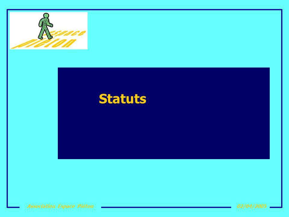 Association Espace Piéton02/04/2005 Les statuts Association Loi 1901 Déclarée le 2 novembre 2004 Parue au JO du 11 décembre 2004 Siège social : Maison de Quartier de la Bellangerais
