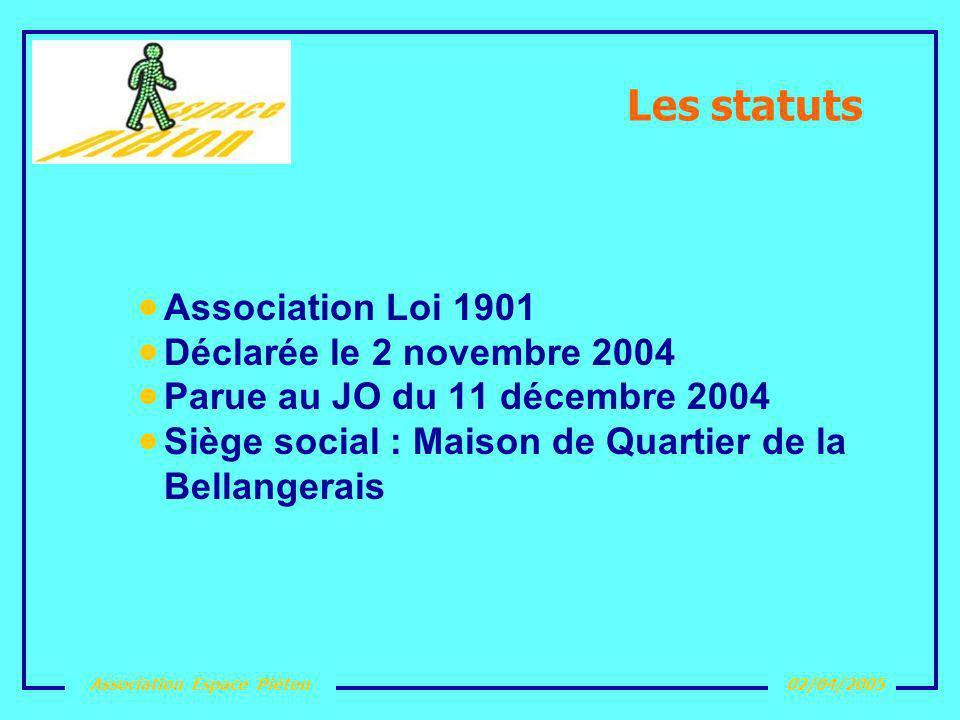 Association Espace Piéton02/04/2005 Les statuts Association Loi 1901 Déclarée le 2 novembre 2004 Parue au JO du 11 décembre 2004 Siège social : Maison