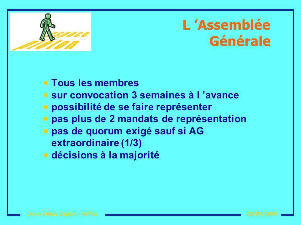 Association Espace Piéton02/04/2005 L Assemblée Générale Tous les membres sur convocation 3 semaines à l avance possibilité de se faire représenter pa