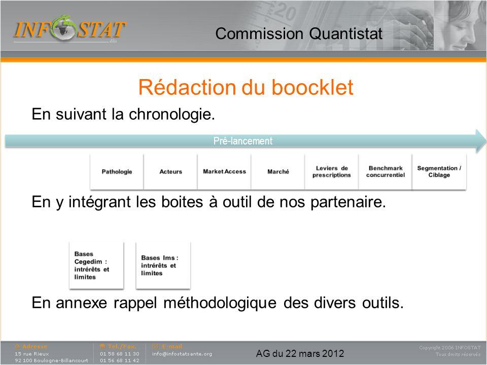 Commission Quantistat Rédaction du boocklet En suivant la chronologie. En y intégrant les boites à outil de nos partenaire. En annexe rappel méthodolo