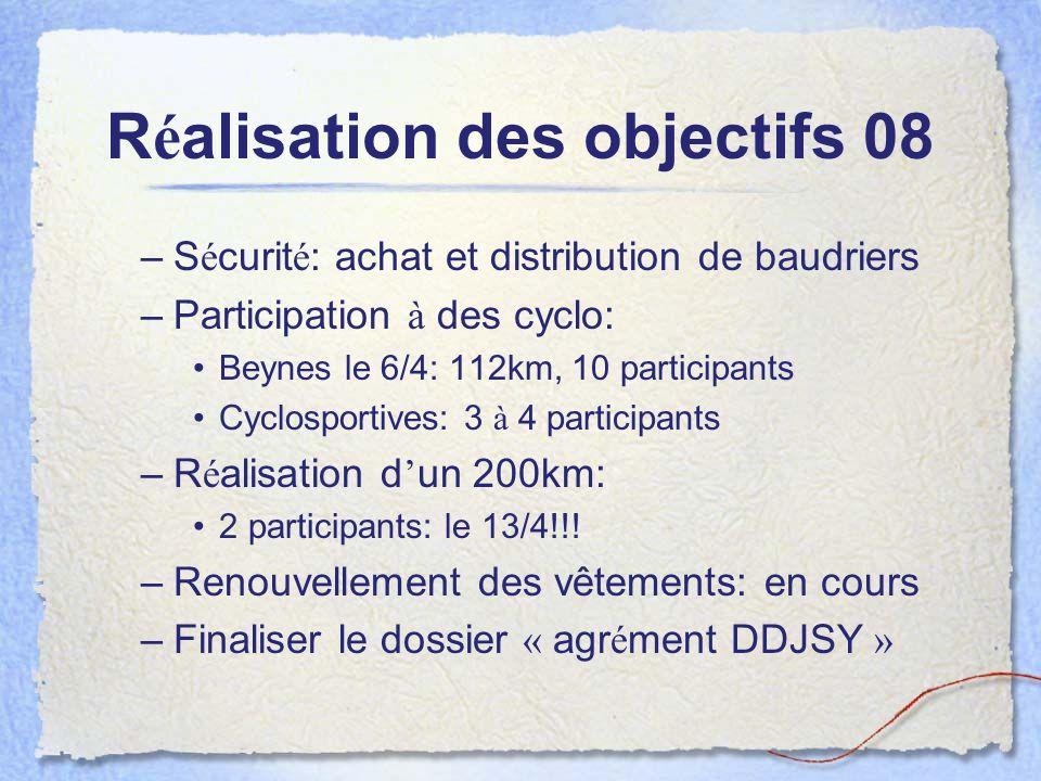 R é alisation des objectifs 08 –S é curit é : achat et distribution de baudriers –Participation à des cyclo: Beynes le 6/4: 112km, 10 participants Cyc