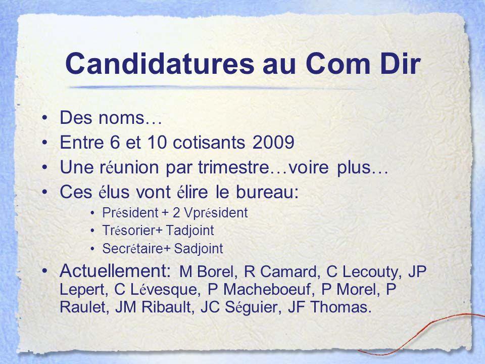 Candidatures au Com Dir Des noms … Entre 6 et 10 cotisants 2009 Une r é union par trimestre … voire plus … Ces é lus vont é lire le bureau: Pr é siden
