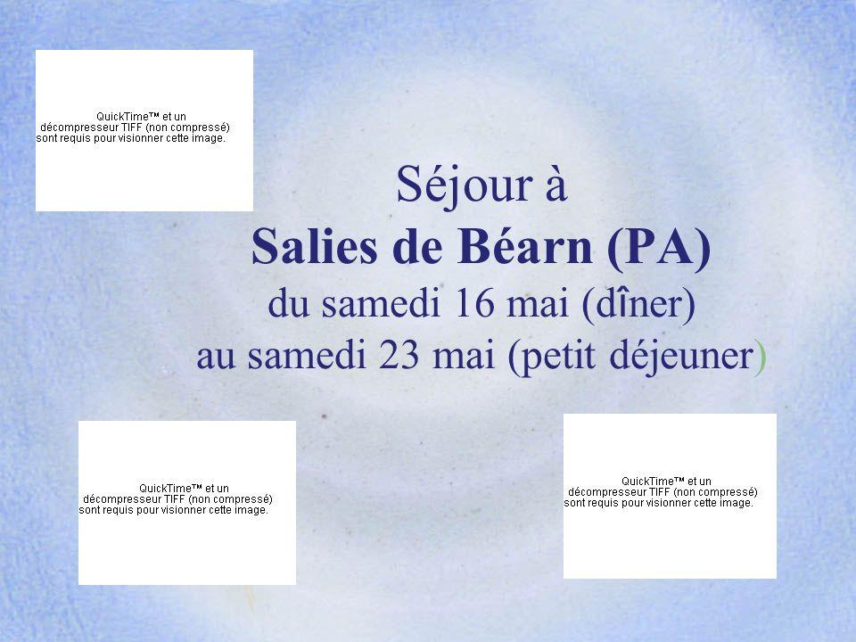 Séjour à Salies de Béarn (PA) du samedi 16 mai (d î ner) au samedi 23 mai (petit déjeuner)