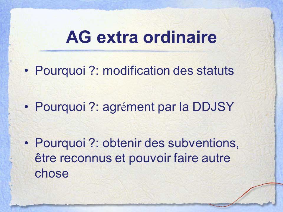 AG extra ordinaire Pourquoi ?: modification des statuts Pourquoi ?: agr é ment par la DDJSY Pourquoi ?: obtenir des subventions, être reconnus et pouv