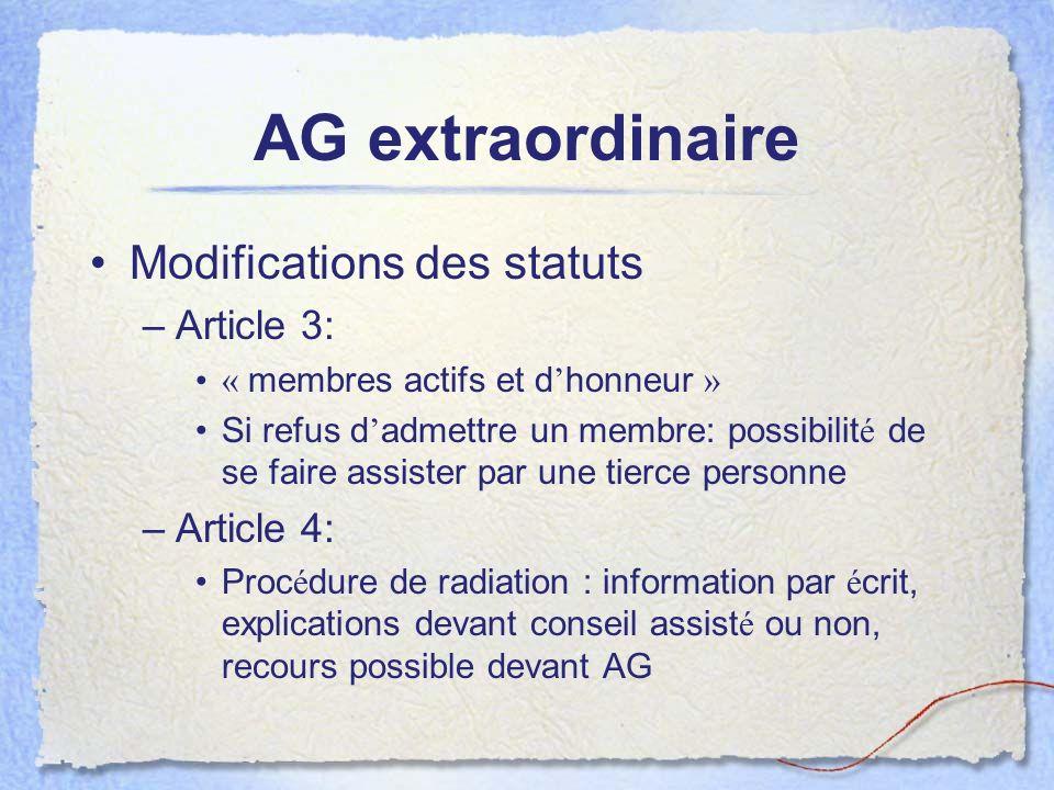 AG extraordinaire Modifications des statuts –Article 3: « membres actifs et d honneur » Si refus d admettre un membre: possibilit é de se faire assist