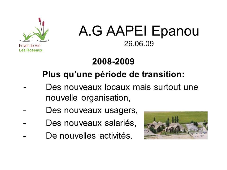 A.G AAPEI Epanou 26.06.09 2008-2009 Plus quune période de transition: -Des nouveaux locaux mais surtout une nouvelle organisation, - Des nouveaux usagers, - Des nouveaux salariés, - De nouvelles activités.