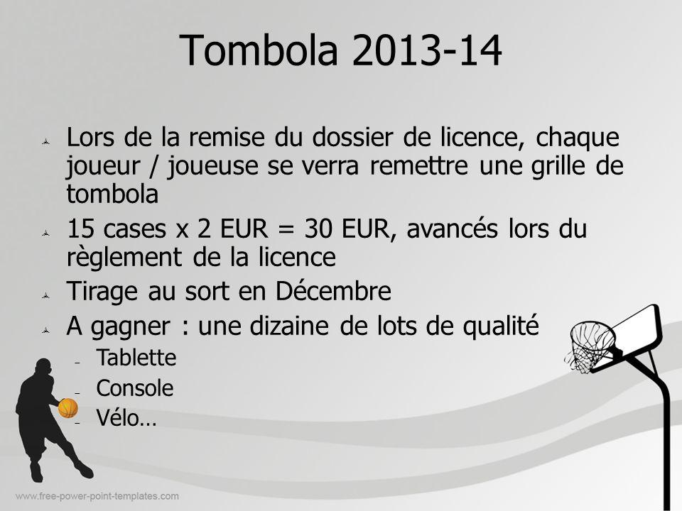 Tombola 2013-14 Lors de la remise du dossier de licence, chaque joueur / joueuse se verra remettre une grille de tombola 15 cases x 2 EUR = 30 EUR, av