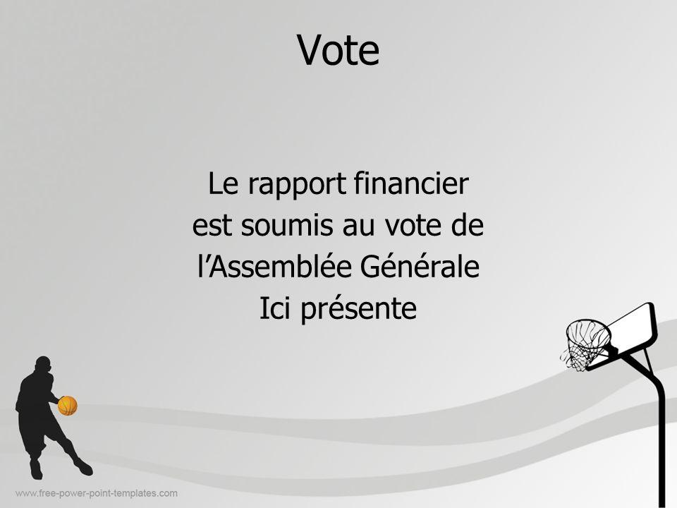 Vote Le rapport financier est soumis au vote de lAssemblée Générale Ici présente
