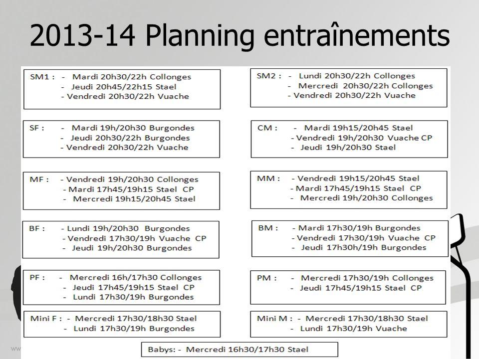 2013-14 Planning entraînements