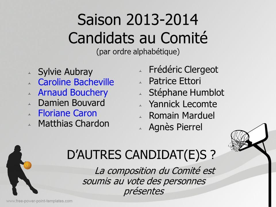 Saison 2013-2014 Candidats au Comité (par ordre alphabétique) Frédéric Clergeot Patrice Ettori Stéphane Humblot Yannick Lecomte Romain Marduel Agnès P