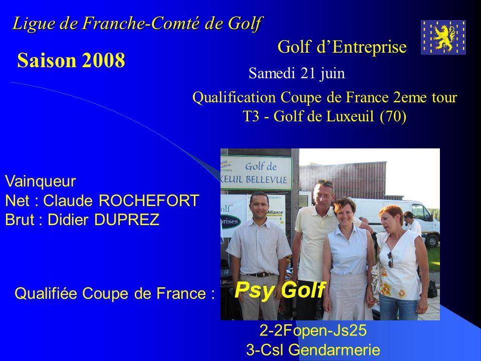 Ligue de Franche-Comté de Golf Golf dEntreprise Saison 2008 Samedi 21 juin Vainqueur Net : Claude ROCHEFORT Brut : Didier DUPREZ Qualifiée Coupe de Fr