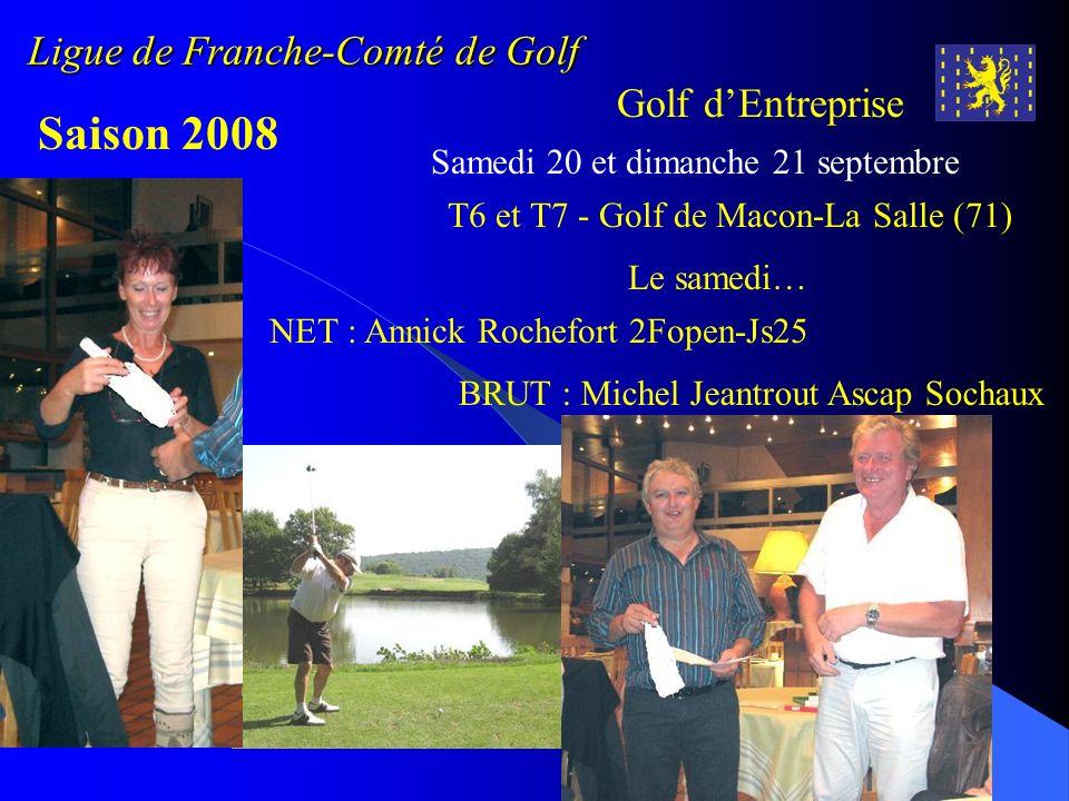 Ligue de Franche-Comté de Golf Golf dEntreprise Saison 2008 Samedi 20 et dimanche 21 septembre Le samedi… NET : Annick Rochefort 2Fopen-Js25 BRUT : Mi