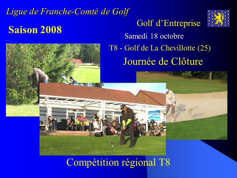Ligue de Franche-Comté de Golf Golf dEntreprise Saison 2008 Samedi 18 octobre Journée de Clôture T8 - Golf de La Chevillotte (25) Compétition régional