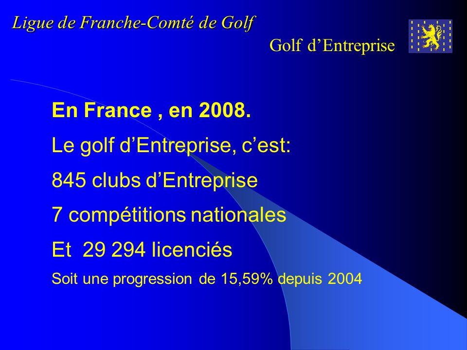 Ligue de Franche-Comté de Golf Golf dEntreprise En Franche Comté, en 2008 10 clubs dEntreprise