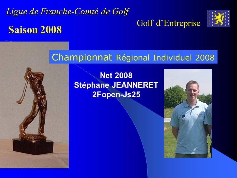 Ligue de Franche-Comté de Golf Golf dEntreprise Saison 2008 Championnat Régional Individuel 2008 Net 2008 Stéphane JEANNERET 2Fopen-Js25