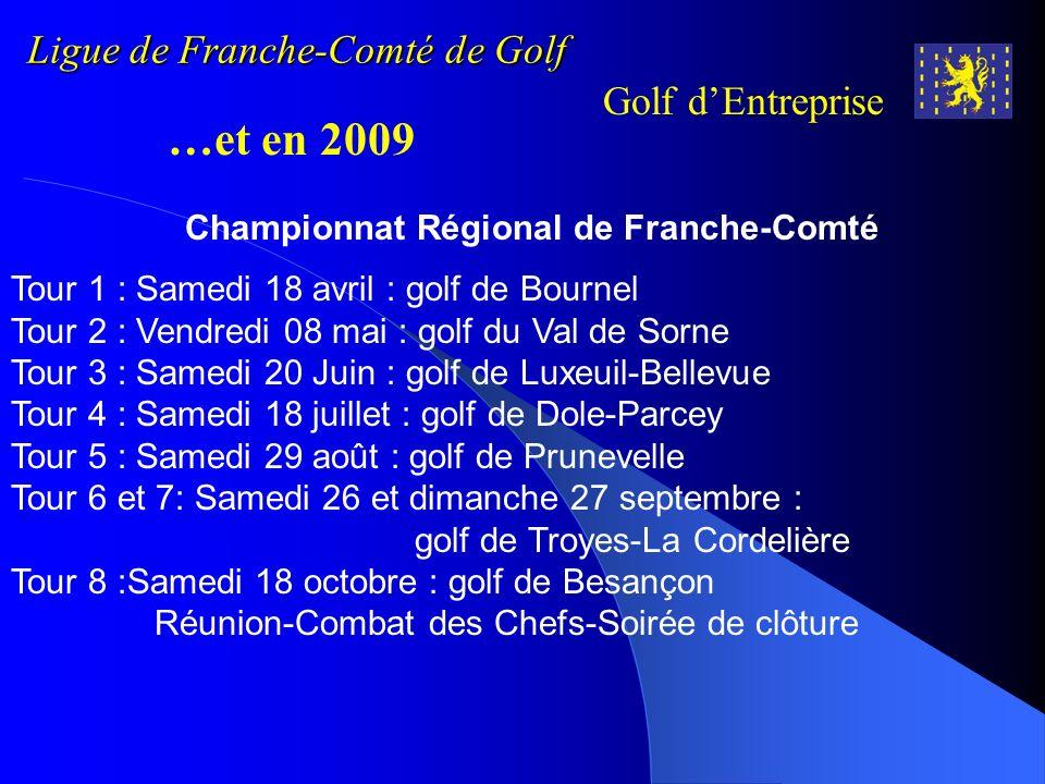 Ligue de Franche-Comté de Golf Golf dEntreprise …et en 2009 Tour 1 : Samedi 18 avril : golf de Bournel Tour 2 : Vendredi 08 mai : golf du Val de Sorne