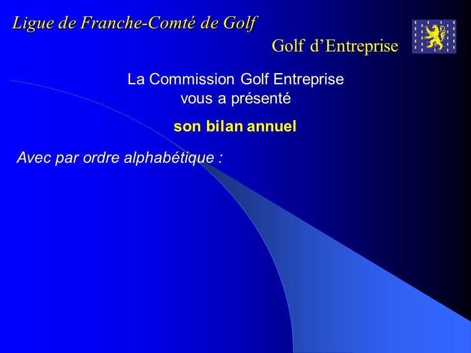 Ligue de Franche-Comté de Golf Golf dEntreprise La Commission Golf Entreprise vous a présenté son bilan annuel Avec par ordre alphabétique :