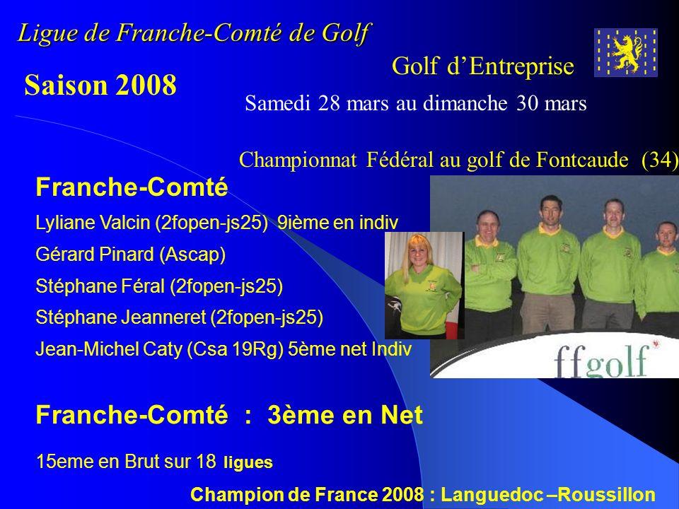 Ligue de Franche-Comté de Golf Golf dEntreprise Saison 2008 Samedi 18 octobre Journée de Clôture Brut : Stéphane FERAL 26pts Net 1s : Stéphane JEANNERET 35pts Net 2s : Patrice BONAL 39pts Net 3s : Stéphane BUGAUT 40pts 40 participants 5 dames T8 - Golf de La Chevillotte (25) Compétition régional T8