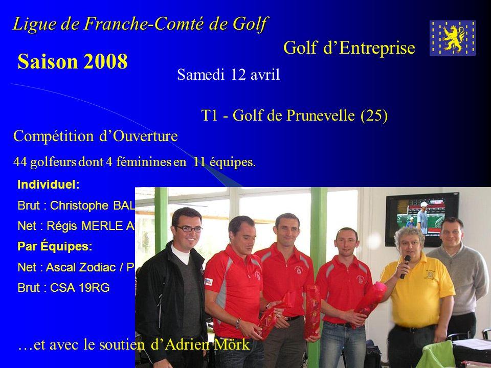 Ligue de Franche-Comté de Golf Golf dEntreprise Saison 2008 Samedi 12 avril T1 - Golf de Prunevelle (25) Individuel: Brut : Christophe BALLET Csa 19RG