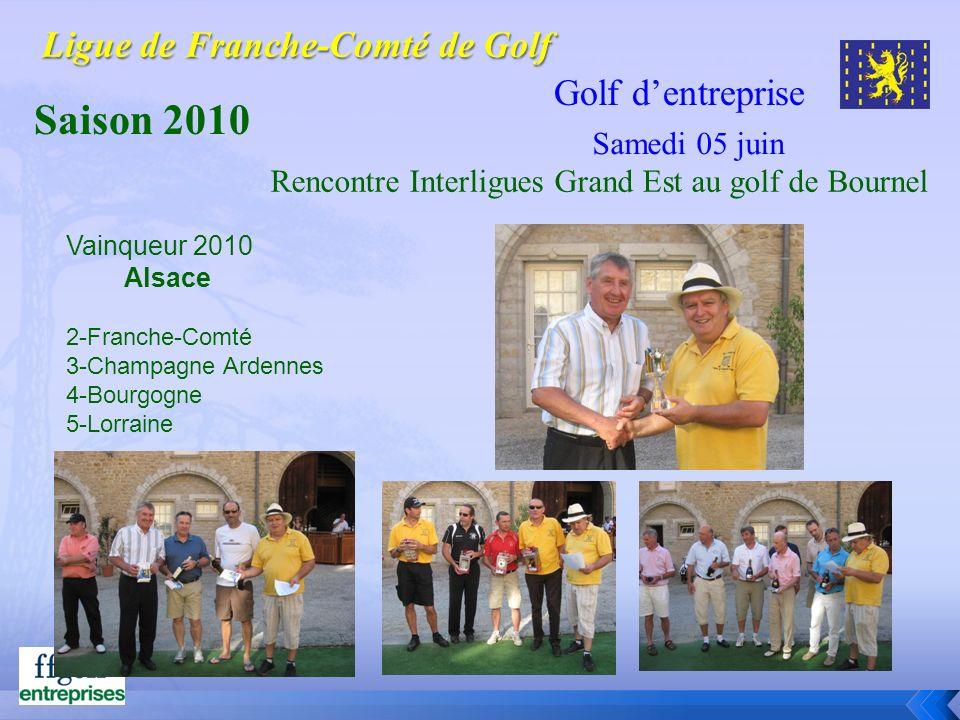 Golf dentreprise Saison 2010 Vainqueur 2010 Alsace 2-Franche-Comté 3-Champagne Ardennes 4-Bourgogne 5-Lorraine Rencontre Interligues Grand Est au golf