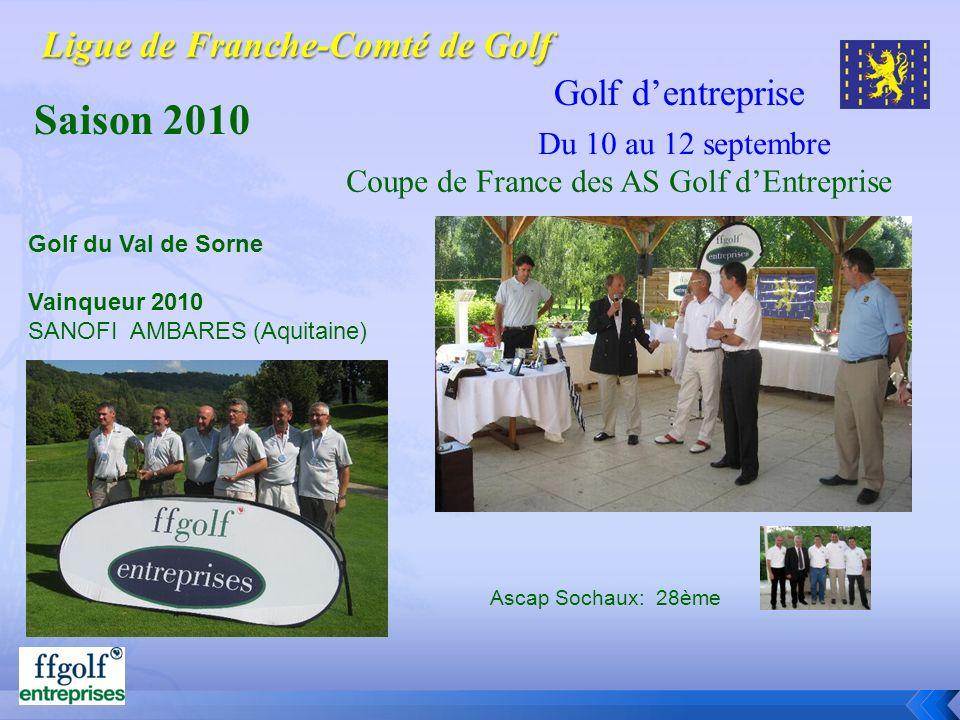 Golf dentreprise Saison 2010 Golf du Val de Sorne Vainqueur 2010 SANOFI AMBARES (Aquitaine) Coupe de France des AS Golf dEntreprise Ascap Sochaux: 28è