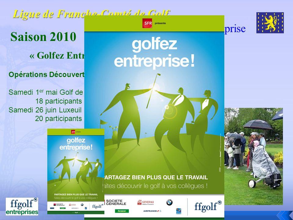 Golf dentreprise Saison 2010 Opérations Découverte : Samedi 1 er mai Golf de Prunevelle avec lAscap et lAsptt 18 participants Samedi 26 juin Luxeuil a