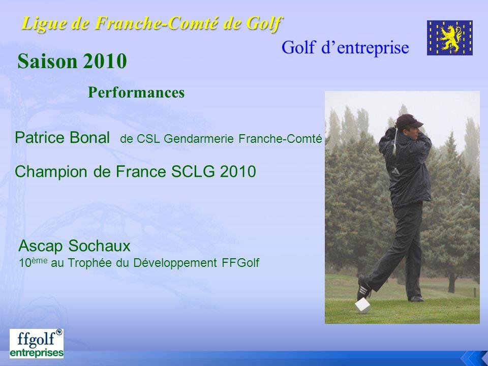 Golf dentreprise Saison 2010 Patrice Bonal de CSL Gendarmerie Franche-Comté Champion de France SCLG 2010 Performances Ascap Sochaux 10 ème au Trophée