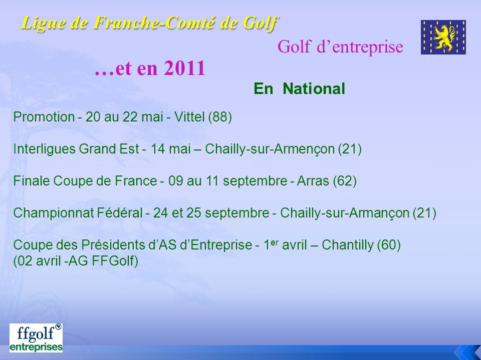 Golf dentreprise …et en 2011 En National Promotion - 20 au 22 mai - Vittel (88) Interligues Grand Est - 14 mai – Chailly-sur-Armençon (21) Finale Coup