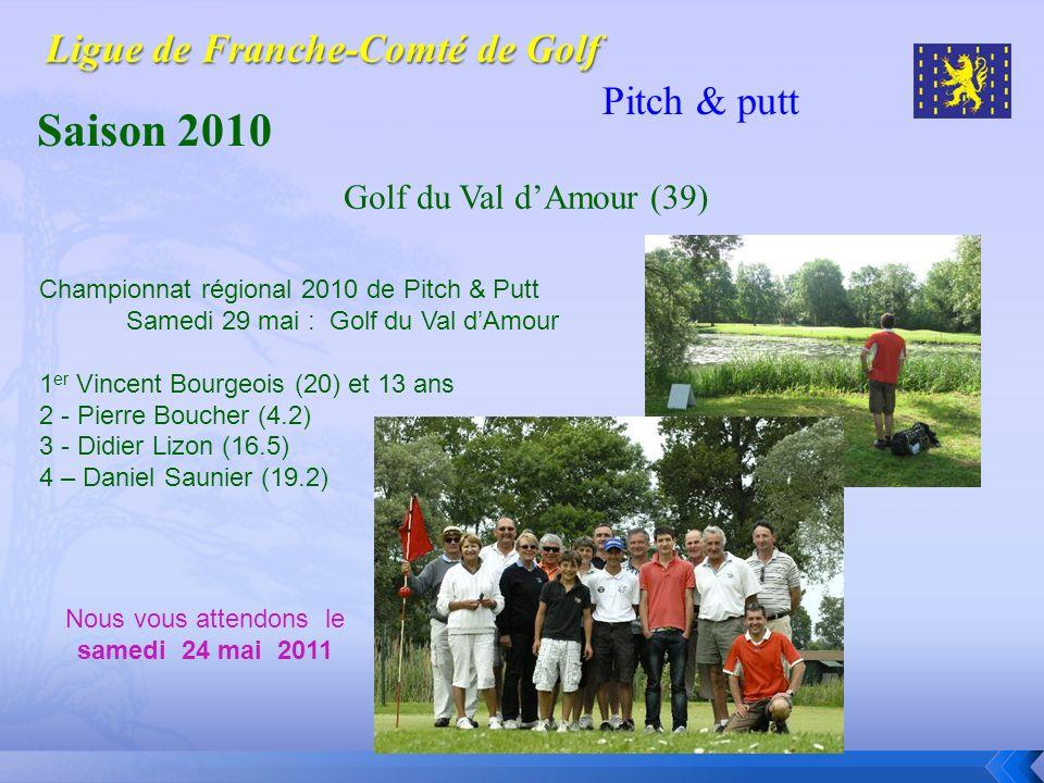 Pitch & putt Saison 2010 Championnat régional 2010 de Pitch & Putt Samedi 29 mai : Golf du Val dAmour 1 er Vincent Bourgeois (20) et 13 ans 2 - Pierre