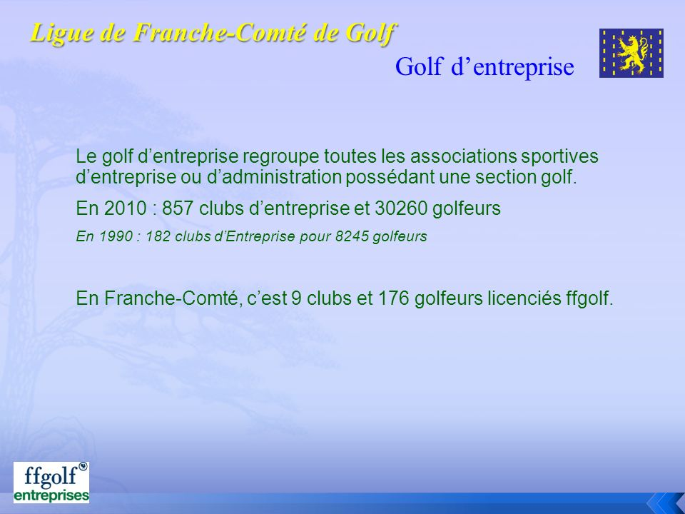 Golf dentreprise Le golf dentreprise regroupe toutes les associations sportives dentreprise ou dadministration possédant une section golf. En 2010 : 8