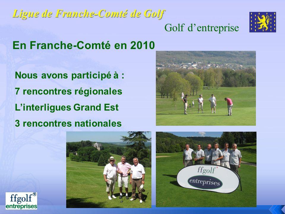 Golf dentreprise En Franche-Comté en 2010 Nous avons participé à : 7 rencontres régionales Linterligues Grand Est 3 rencontres nationales