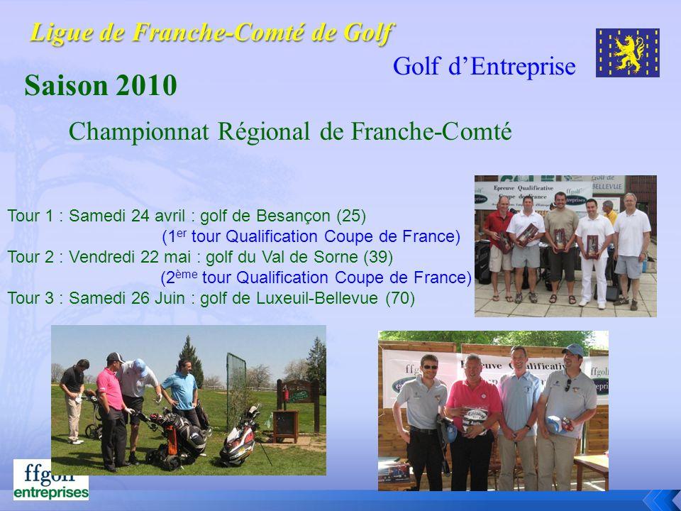 Golf dEntreprise Saison 2010 Tour 1 : Samedi 24 avril : golf de Besançon (25) (1 er tour Qualification Coupe de France) Tour 2 : Vendredi 22 mai : gol