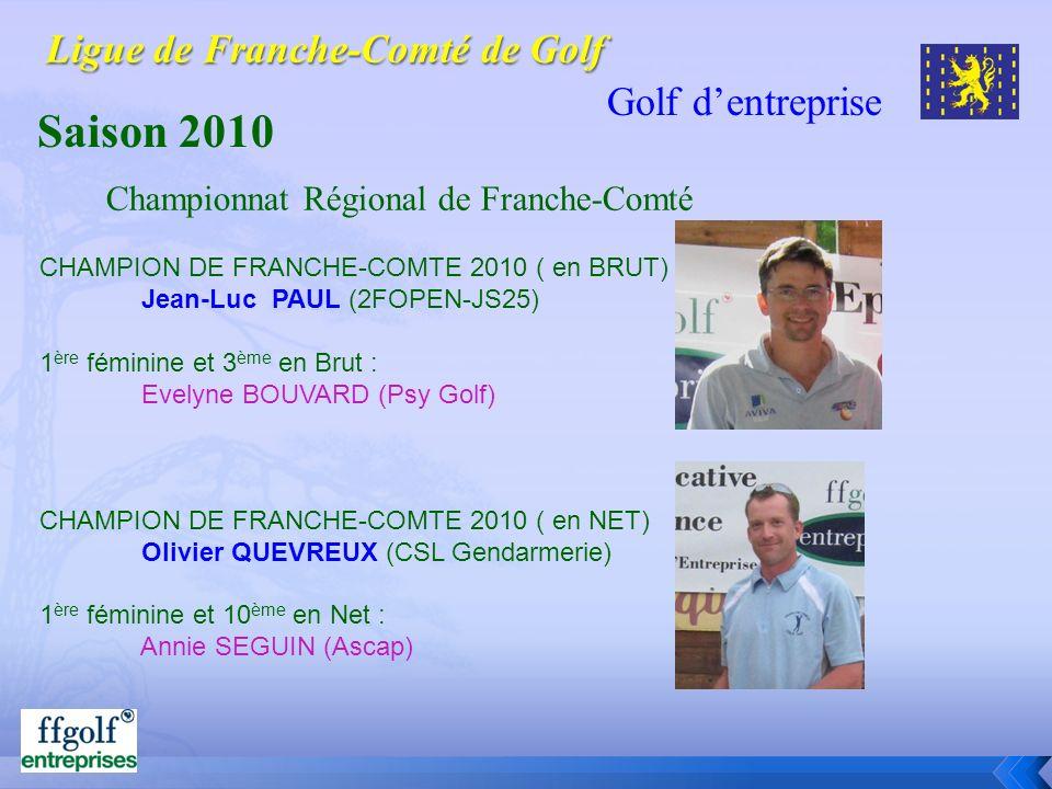 Golf dentreprise Saison 2010 CHAMPION DE FRANCHE-COMTE 2010 ( en BRUT) Jean-Luc PAUL (2FOPEN-JS25) 1 ère féminine et 3 ème en Brut : Evelyne BOUVARD (