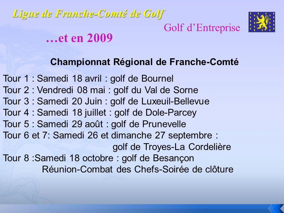 Golf dEntreprise …et en 2009 Tour 1 : Samedi 18 avril : golf de Bournel Tour 2 : Vendredi 08 mai : golf du Val de Sorne Tour 3 : Samedi 20 Juin : golf