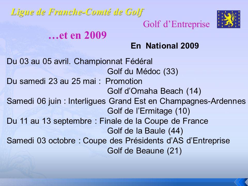 Golf dEntreprise …et en 2009 En National 2009 Du 03 au 05 avril. Championnat Fédéral Golf du Médoc (33) Du samedi 23 au 25 mai : Promotion Golf dOmaha