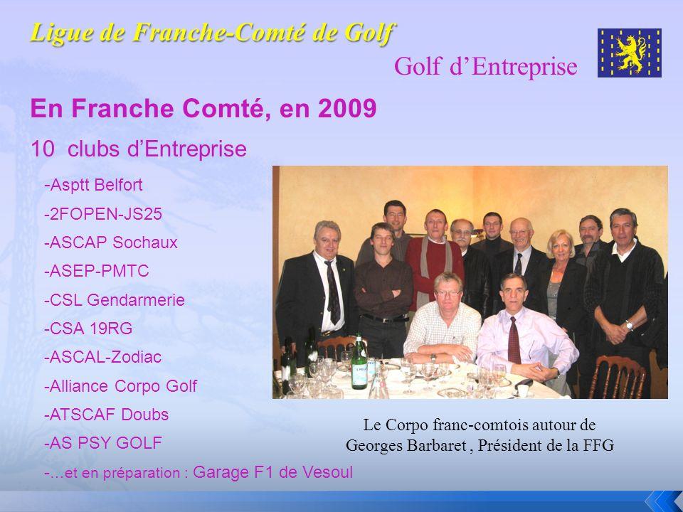 Golf dEntreprise En Franche Comté, en 2009 10 clubs dEntreprise - Asptt Belfort -2FOPEN-JS25 -ASCAP Sochaux -ASEP-PMTC -CSL Gendarmerie -CSA 19RG -ASC