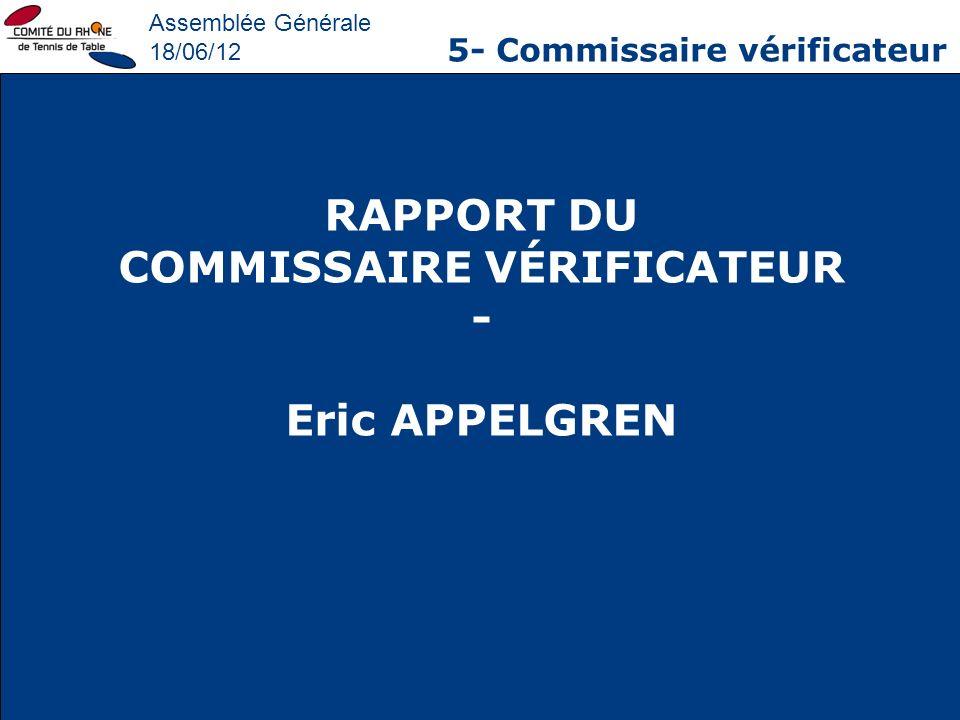 Assemblée Générale 18/06/12 5- Commissaire vérificateur RAPPORT DU COMMISSAIRE VÉRIFICATEUR - Eric APPELGREN