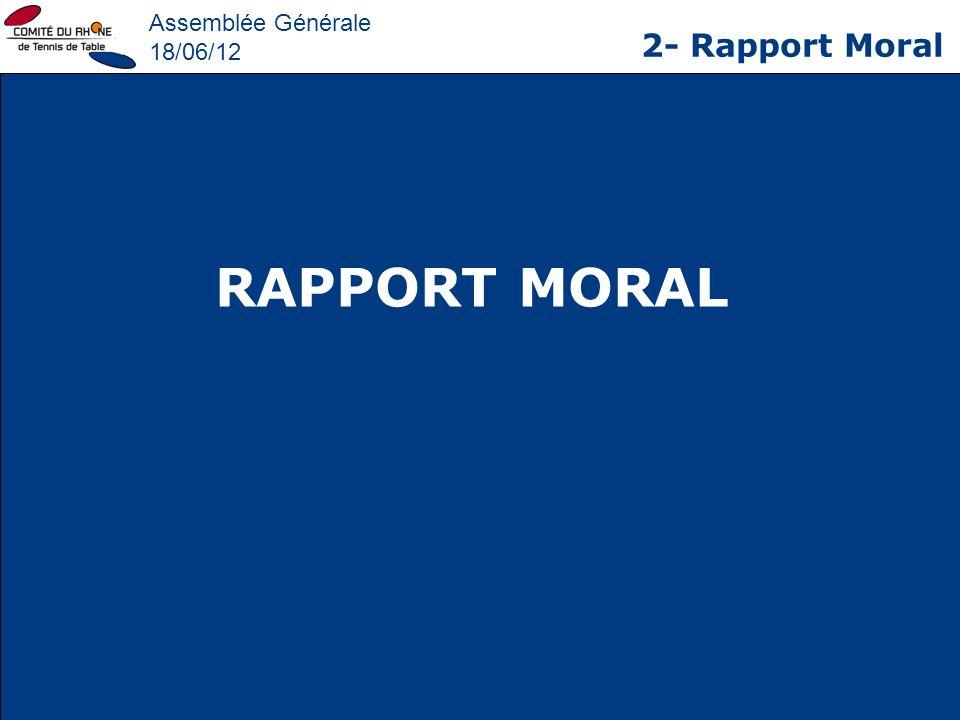 Assemblée Générale 18/06/12 2- Rapport Moral RAPPORT MORAL