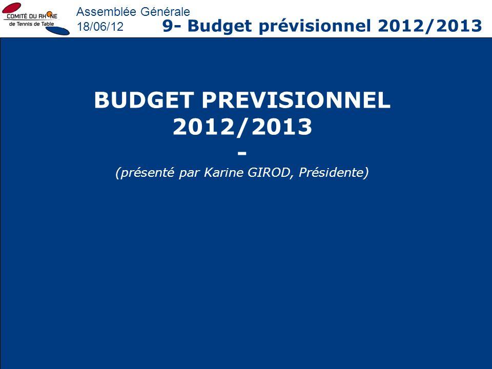 Assemblée Générale 18/06/12 9- Budget prévisionnel 2012/2013 BUDGET PREVISIONNEL 2012/2013 - (présenté par Karine GIROD, Présidente)