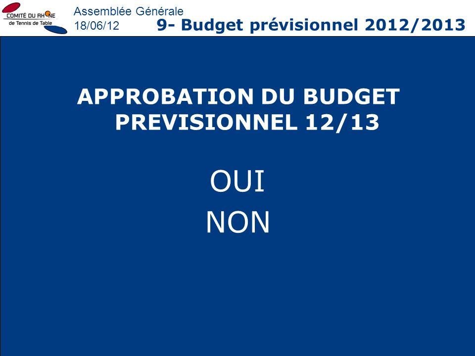 Assemblée Générale 18/06/12 9- Budget prévisionnel 2012/2013 APPROBATION DU BUDGET PREVISIONNEL 12/13 OUI NON