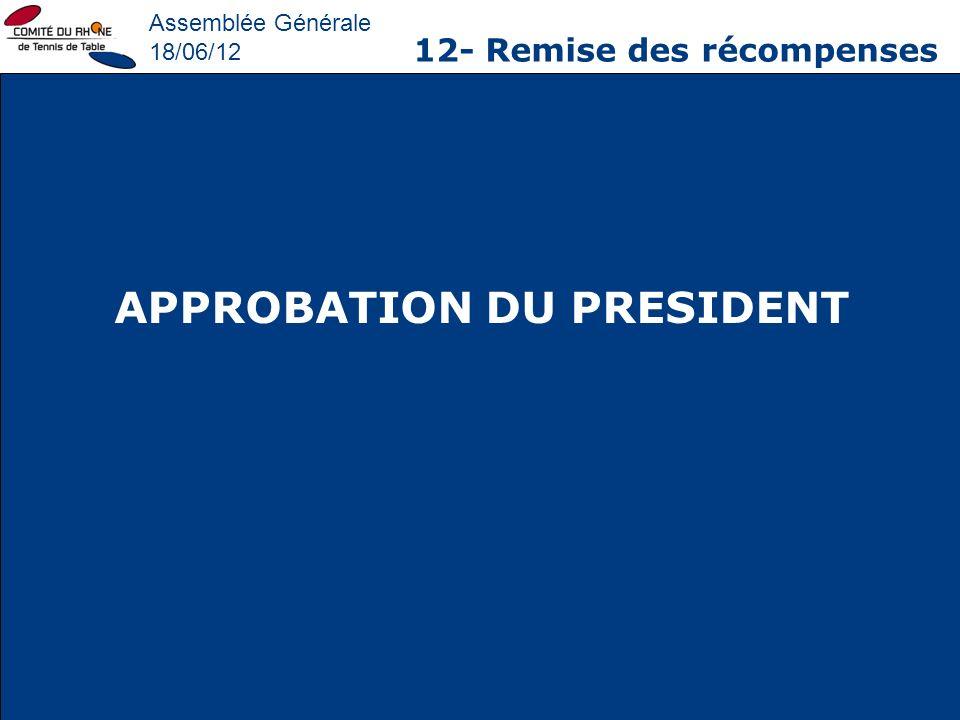 Assemblée Générale 18/06/12 12- Remise des récompenses APPROBATION DU PRESIDENT
