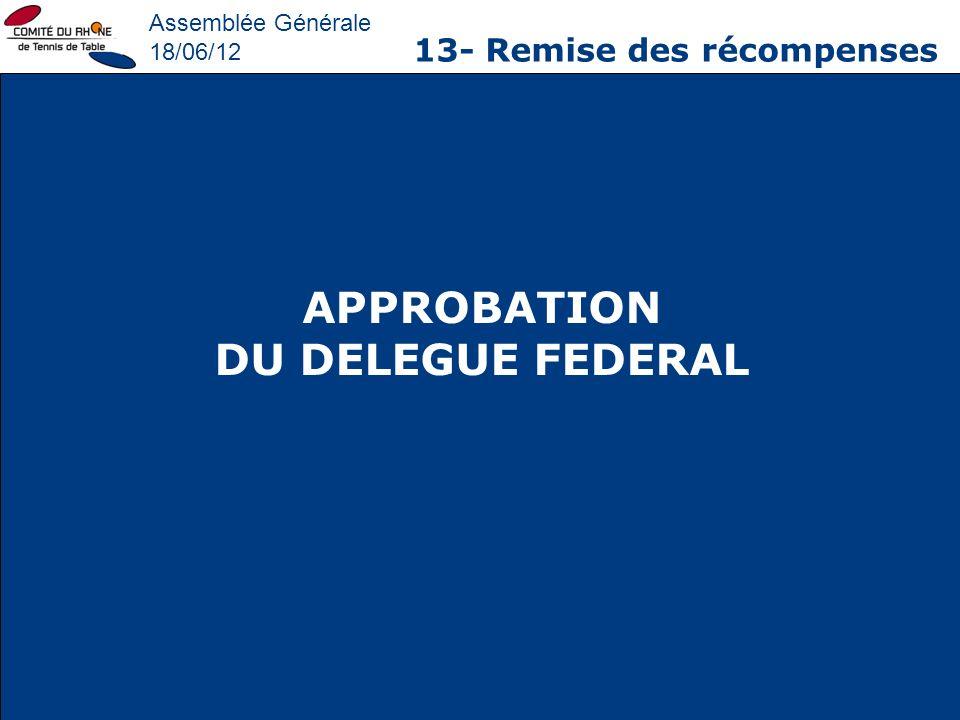 Assemblée Générale 18/06/12 13- Remise des récompenses APPROBATION DU DELEGUE FEDERAL