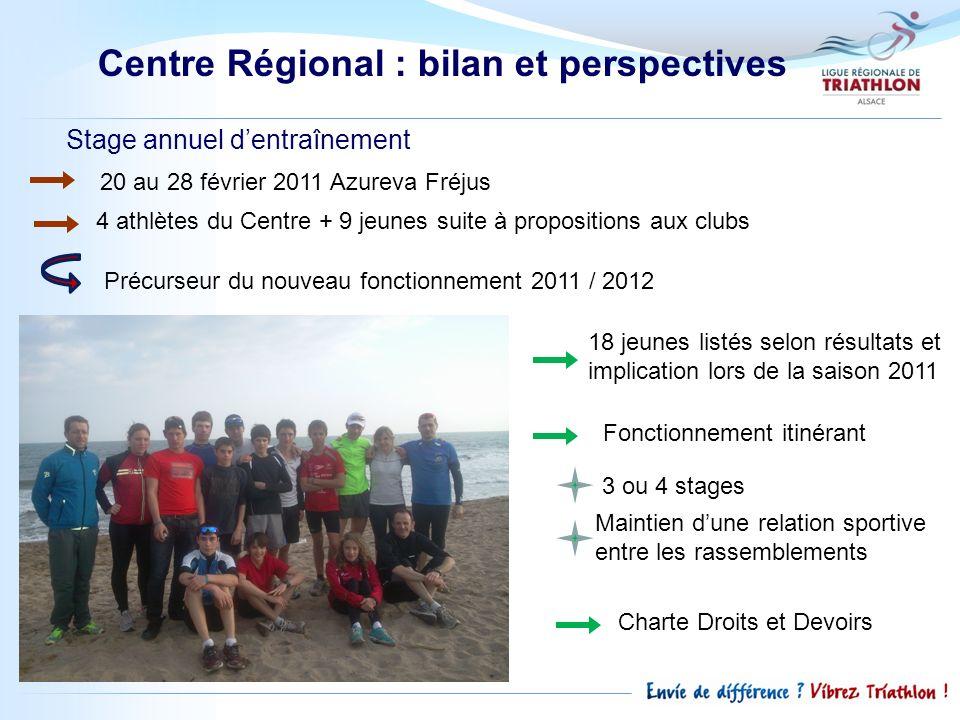 Stage annuel dentraînement 20 au 28 février 2011 Azureva Fréjus 4 athlètes du Centre + 9 jeunes suite à propositions aux clubs Précurseur du nouveau f